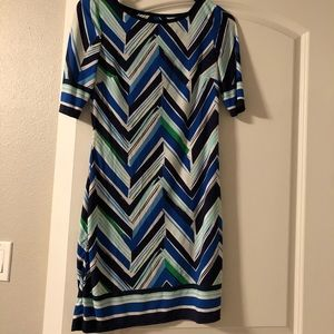 Chevron pattern blue/green mini dress